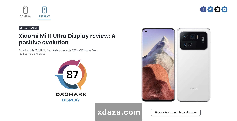 """小米11 Ultra""""翻车"""":DxOMark屏幕测试仅略高于华为P40 Pro,排名第12位"""